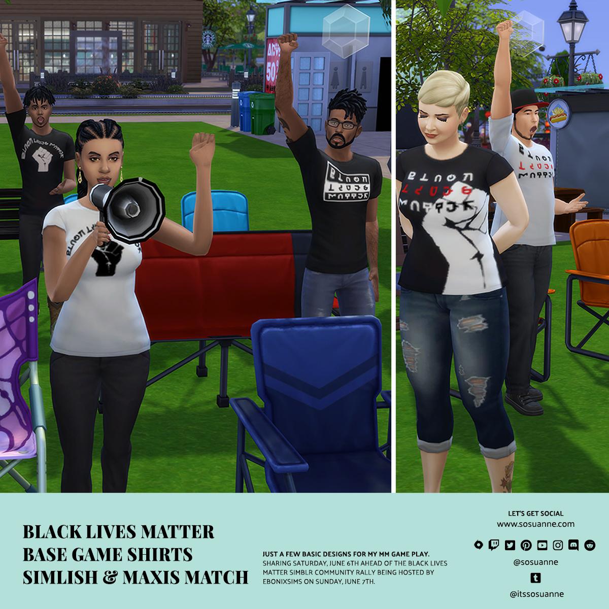 Black Lives Matter Sims 4 recolor shirts