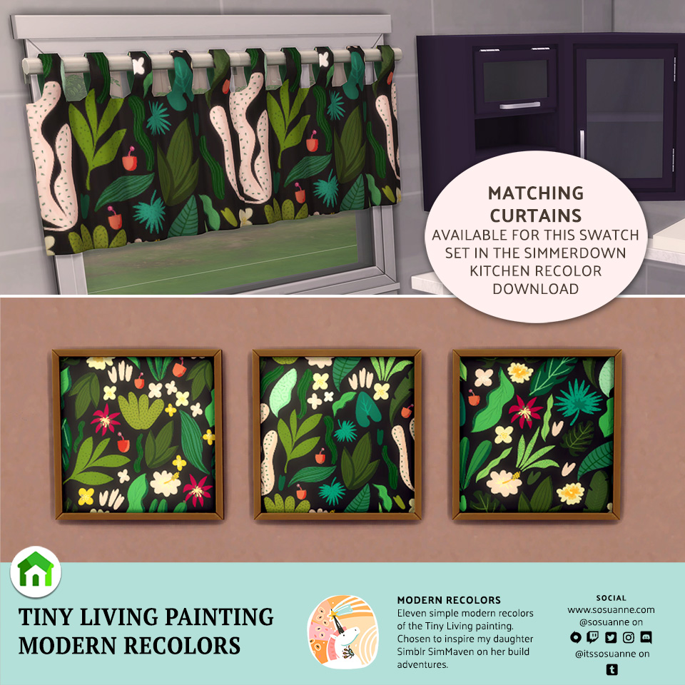Sims 4 Tiny Living Painting Recolor - Maxis Match CC