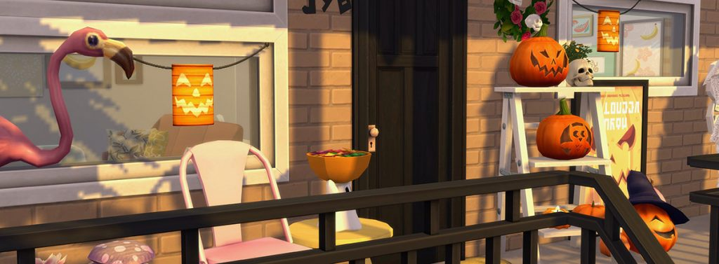 Sims 4 porch decorated for Halloween